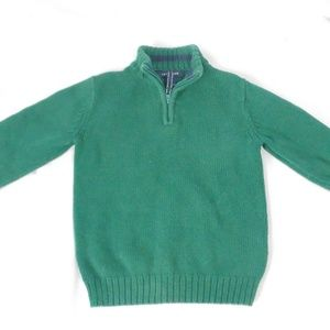Lands End Youth 1/4 zip sweater green size 4